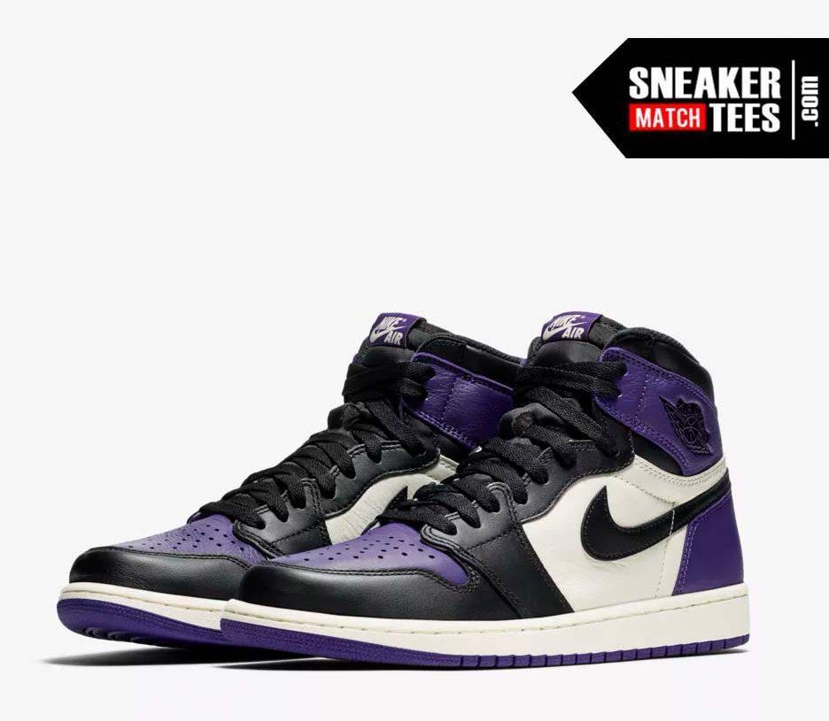 Jordan 1 Court Purple Shirts match sneakers (1)