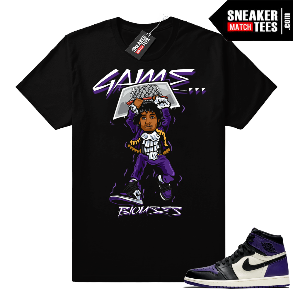 Match Jordan 1 Court Purple Game Blouses shirt