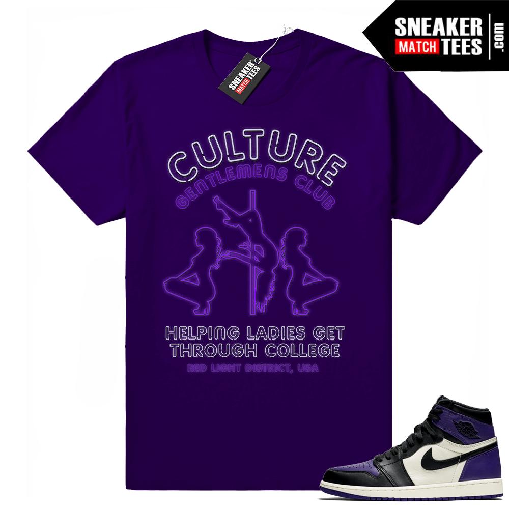 Match Jordan 1 sneaker shirts Court Purple