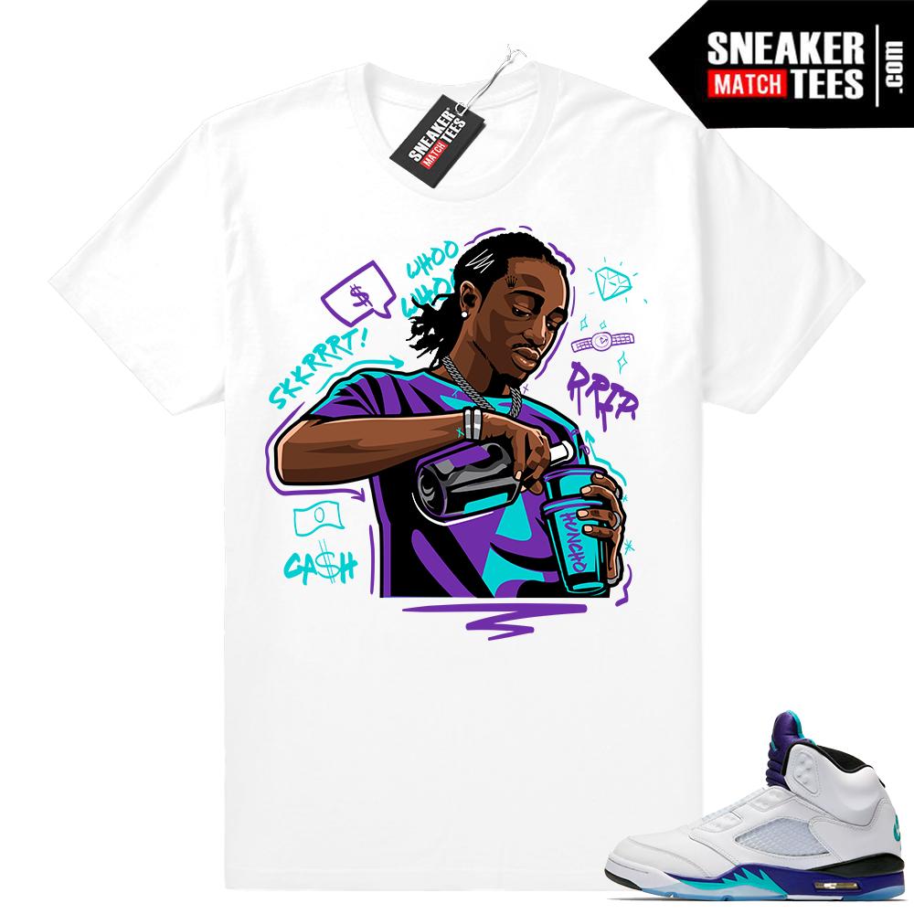 Retro 5 Grape Jordan white shirt
