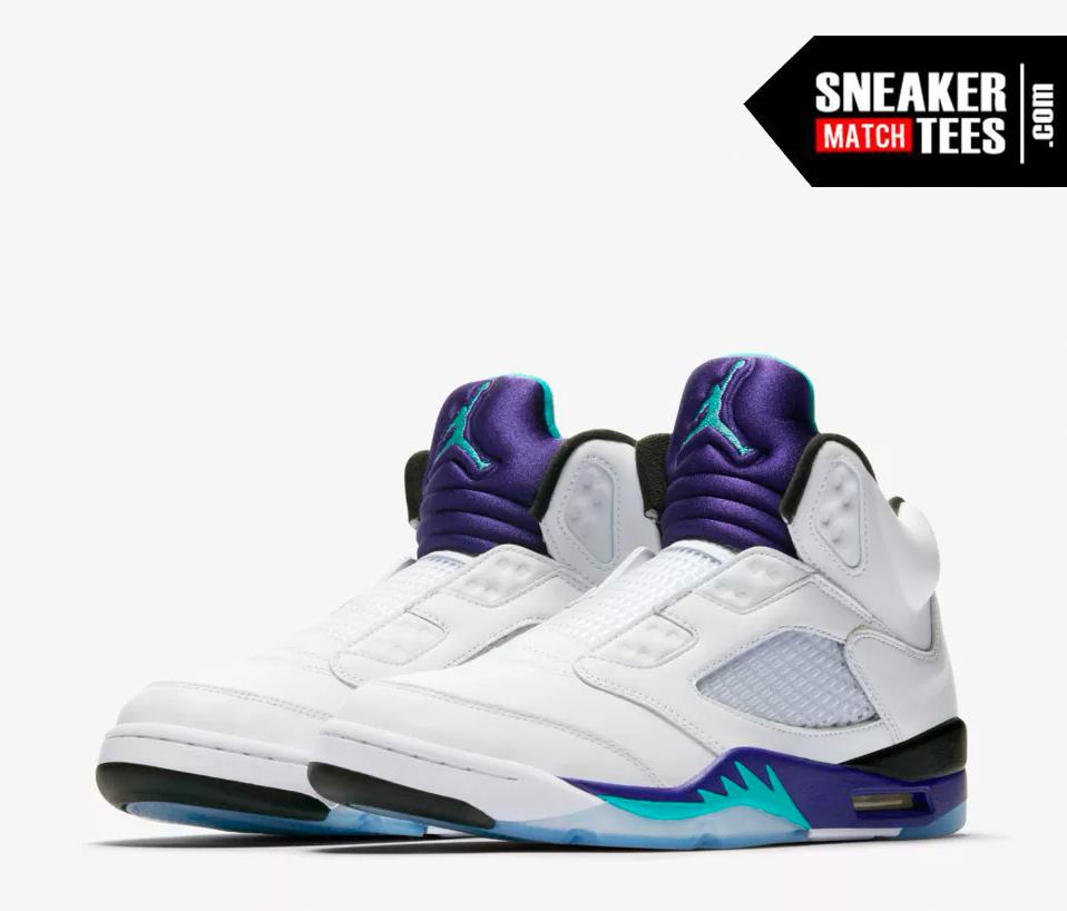 air jordan 5 grape fresh prince match sneaker tees shirts (1)