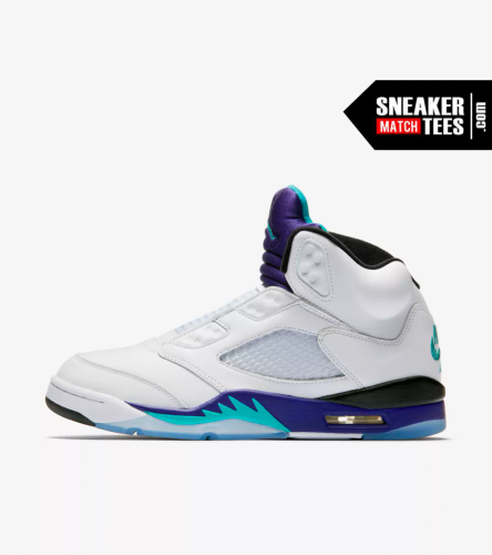 air jordan 5 grape fresh prince match sneaker tees shirts (2)