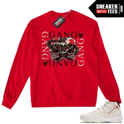 Jordan 11 Platinum Tint Red Crewneck Sweater