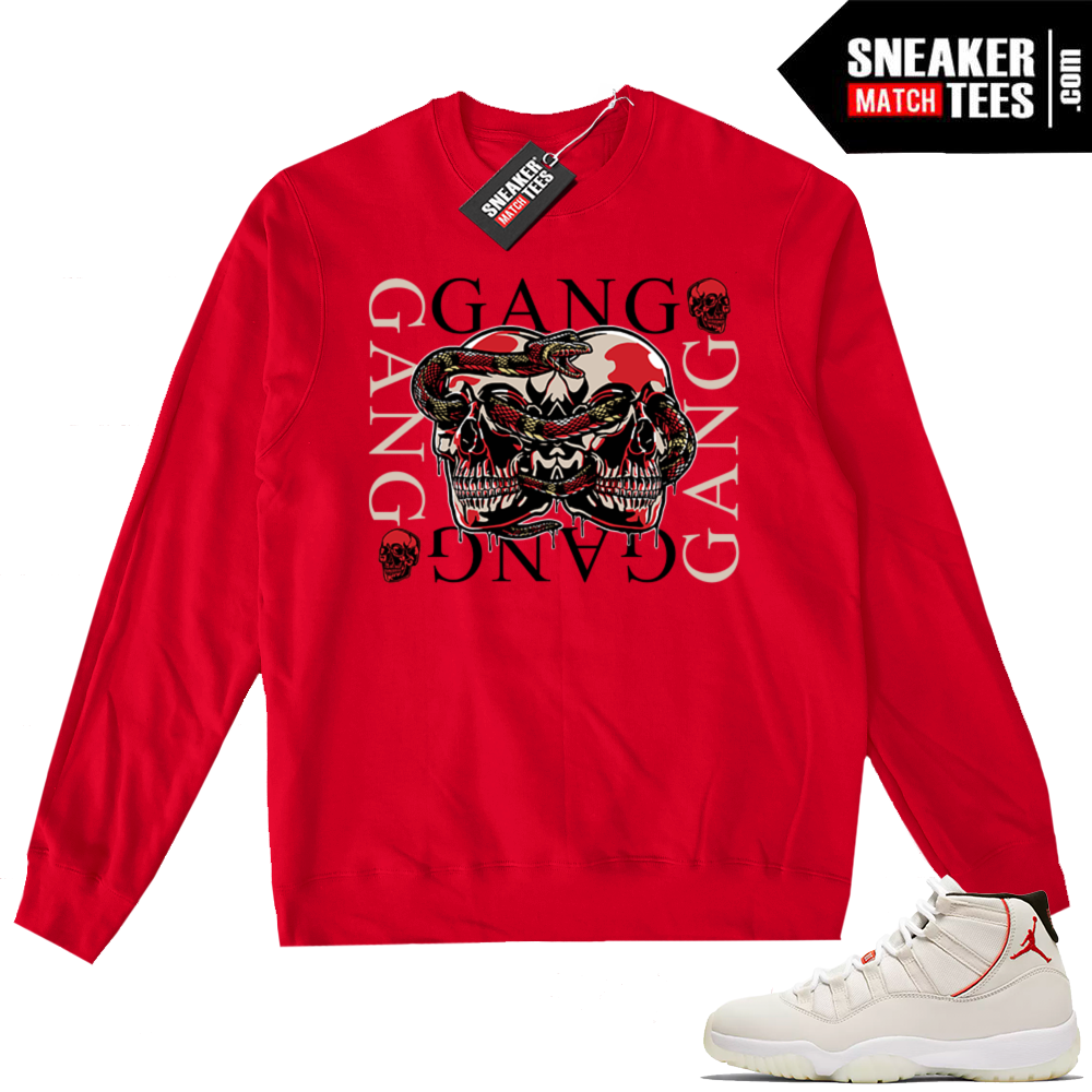 Jordan 11 Platinum Tint Red Crewneck Sweater