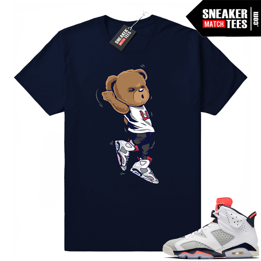Jordan 6 Tinker infrared navy shirt