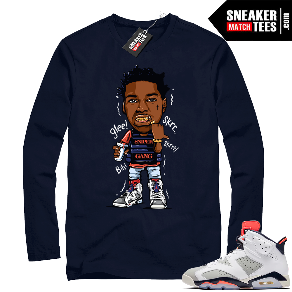 Kodak Black Jordan 6 Navy shirt