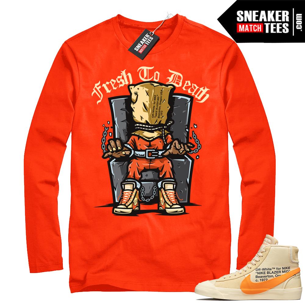 2504e3d76 Off-White Nike Blazer orange long sleeve shirt | Sneaker Match Tees