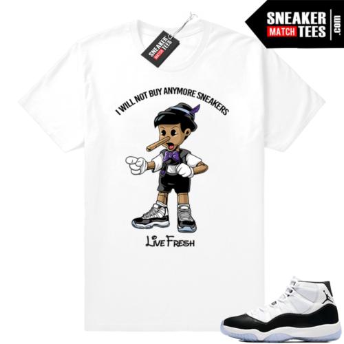 Jordan 11 Concord match white t-shirt