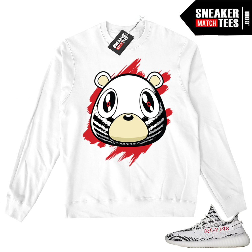 Zebra Yeezy White Crewneck Sweater