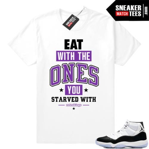 Jordan 11 Concord Eat white t shirt
