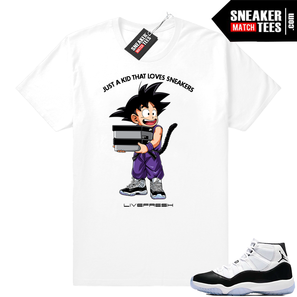 e6176713 Jordan 11 Concord Just a Kid t-shirt | Jordan Sneaker Clothing