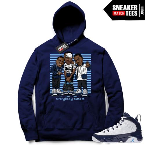 Air Jordan 9 UNC Pearl Blue sneaker match hoodie