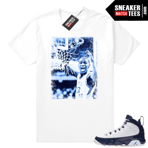 Air Jordan 9 UNC matching white shirt