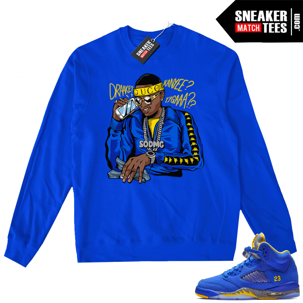 Jordan 5 Laney Royal Soulja Boy sweater