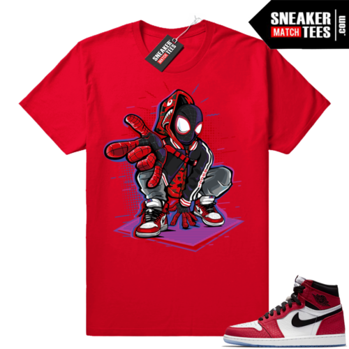 Jordan 1 Spiderman matching shirt