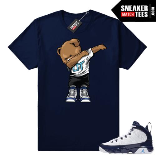 Jordan 9 UNC Dabbin Bear shirt