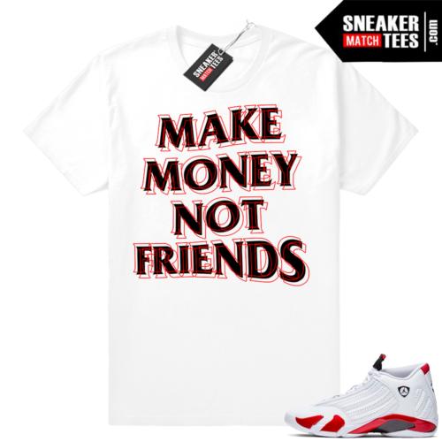 Jordan 14 Candy Cane Money Not Friends tee