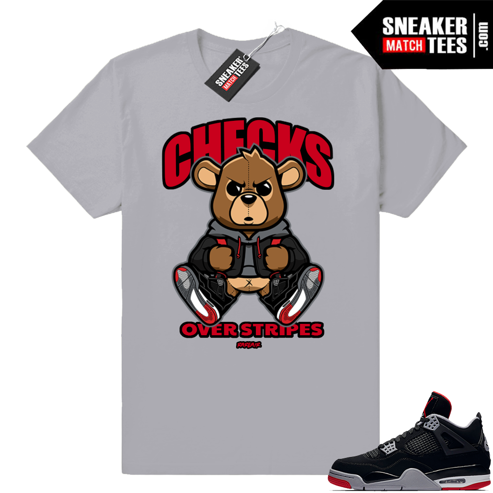Jordan 4 Bred Checks over stripes tee