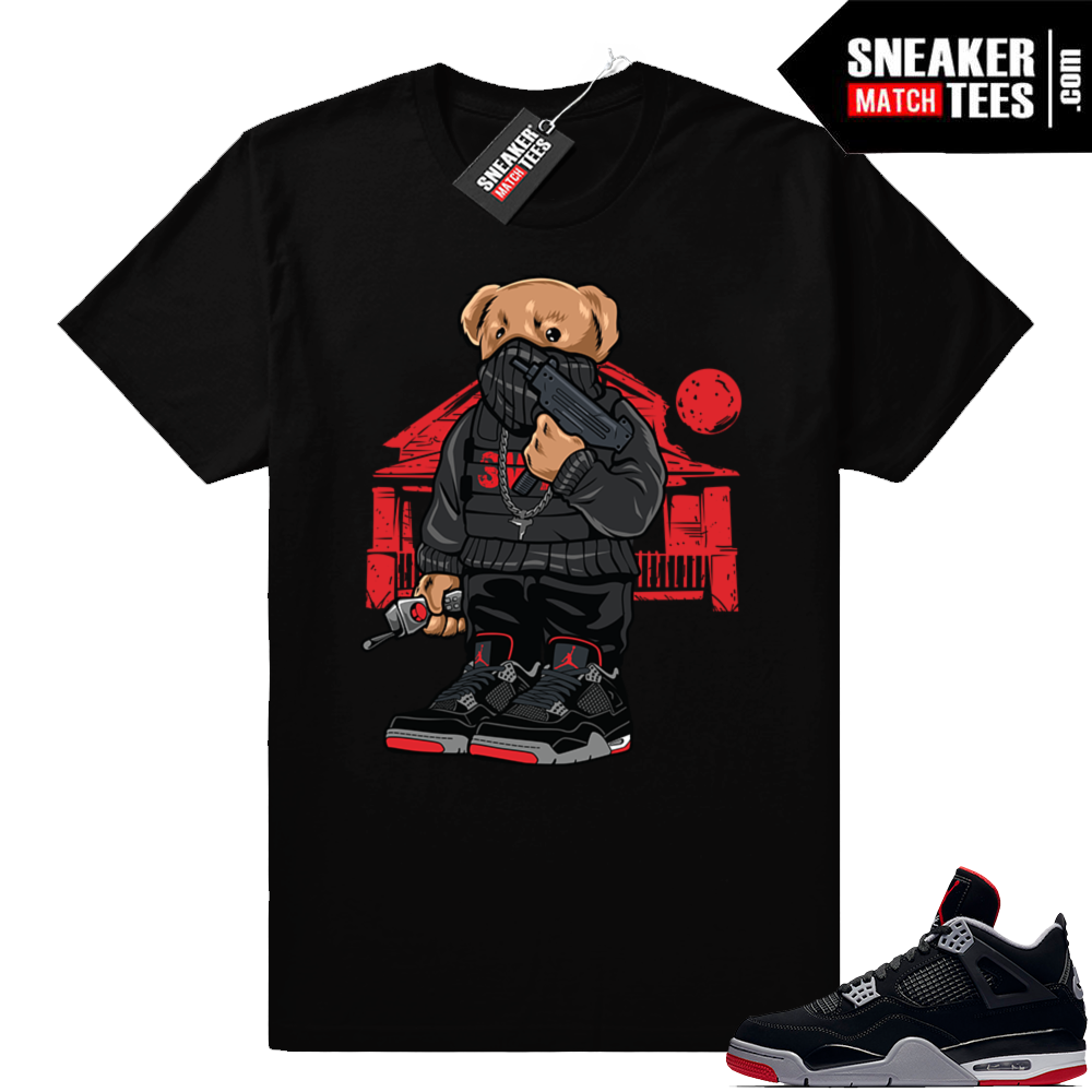 Jordan 4 Bred Trap House Bear tee