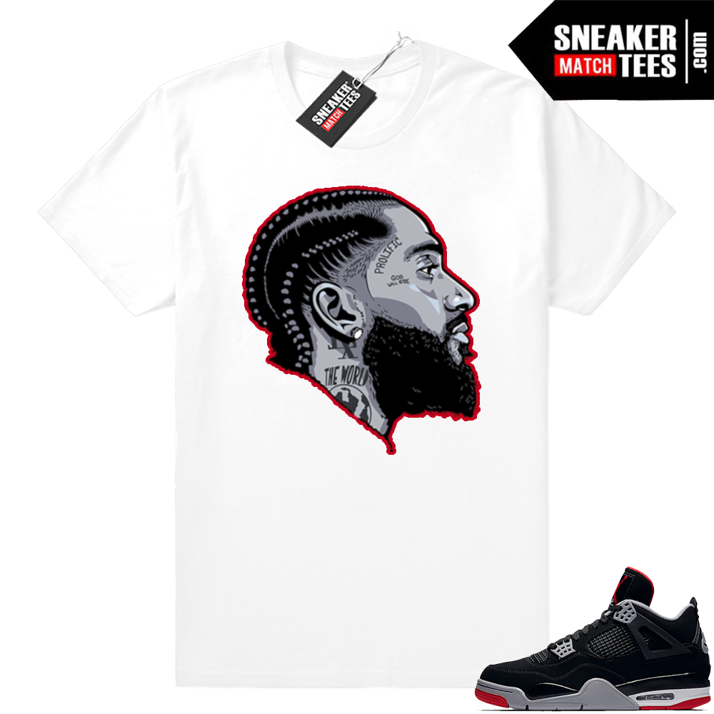 Jordan 4 bred Nipsey Hussle sneaker tee