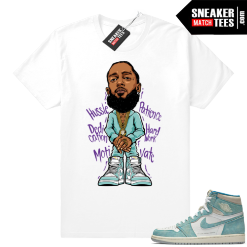Nipsey Hussle Turbo Green 1s white tee