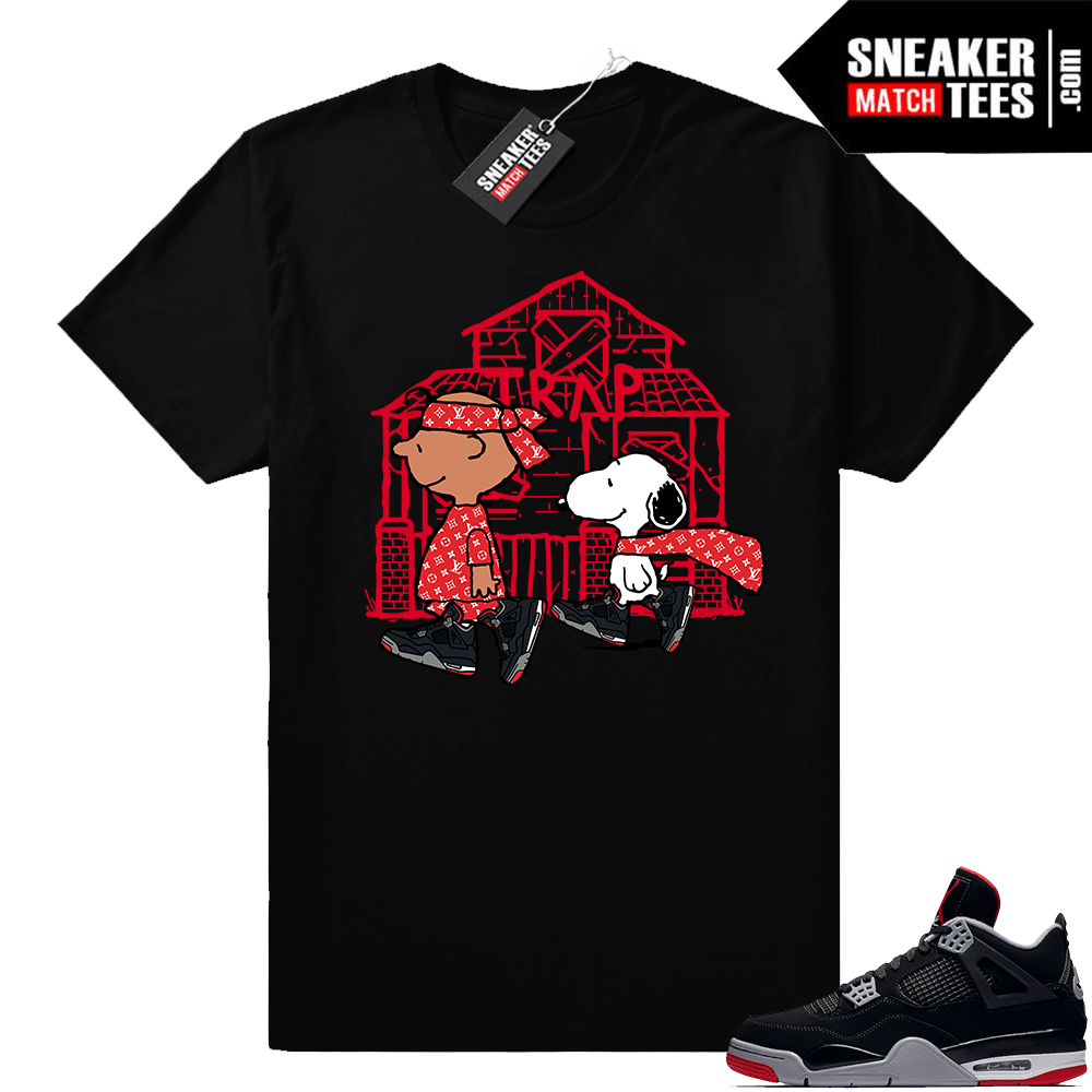 Jordan 4 Bred Match Charlie Snoopy Trap Tee