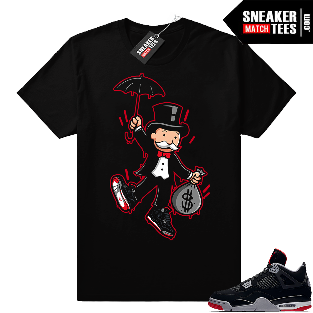 Shirts match Jordan 4 Bred sneakers