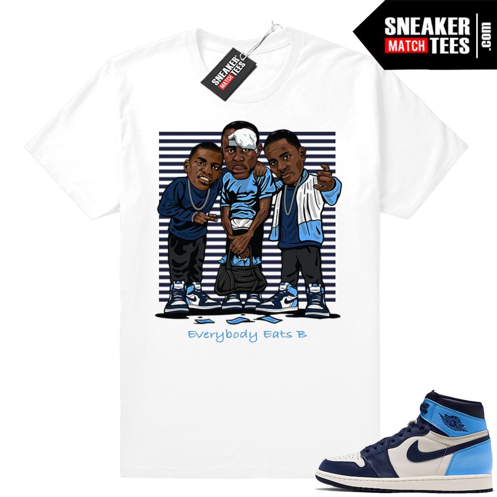 Jordan 1 UNC sneaker match tees