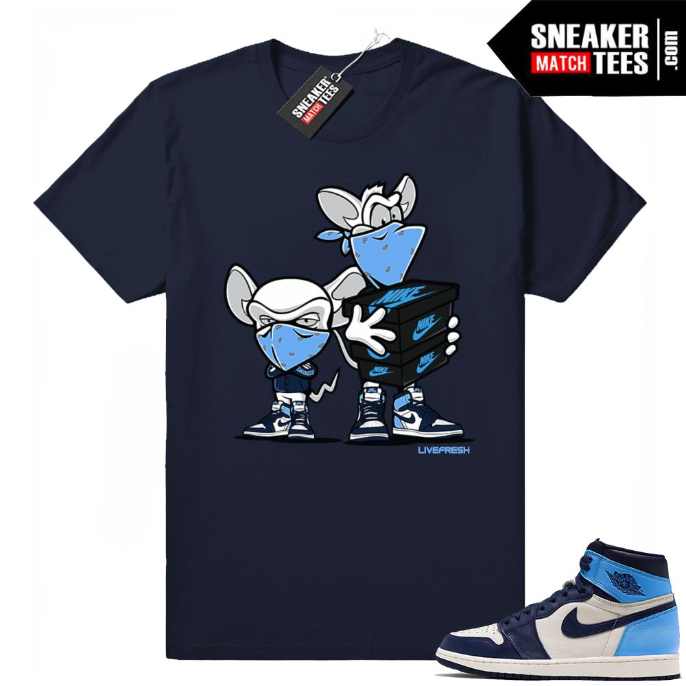 Jordan sneaker tees Obsidian unc 1s