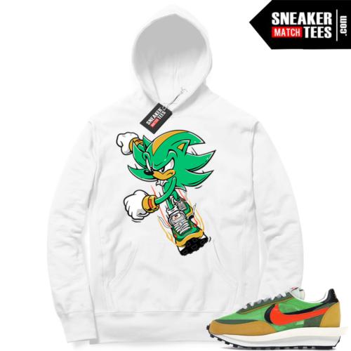 Nike Sacai Waffle Green Multi White Hoodie Sonic Dash