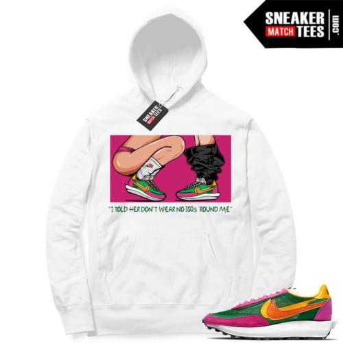 Nike Sacai Waffle Pine Green White Hoodie No 350s