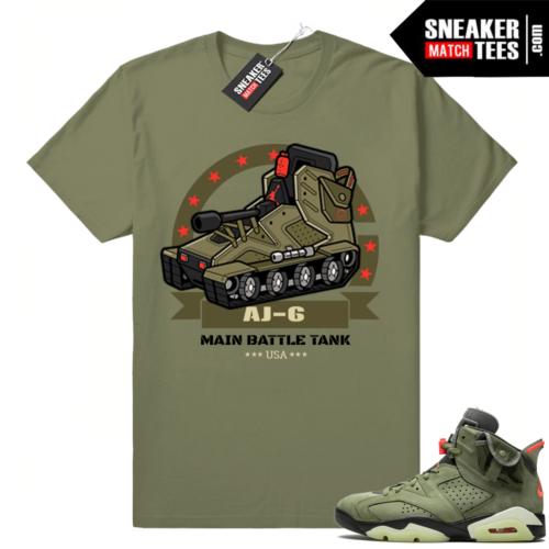 Travis Scott 6s AJ6 Battle Tank Olive shirt