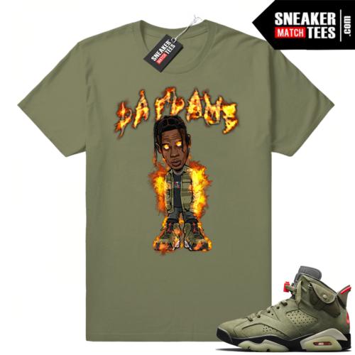 Travis Scott La Flame shirt match Jordan 6