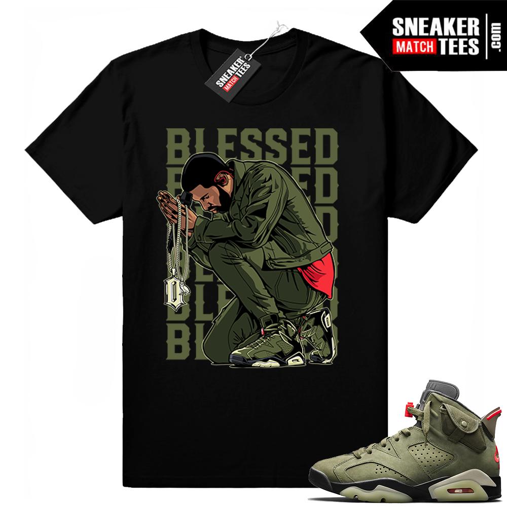 Travis Scott x Jordan 6 Black shirt Blessed