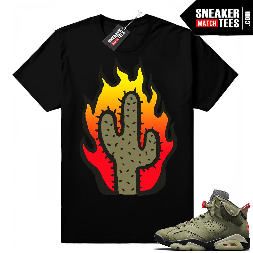 Travis Scott x Jordan 6 Black shirt Cactus Flame