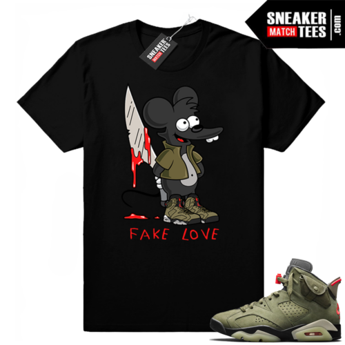Travis Scott x Jordan 6 Black shirt Fake Love