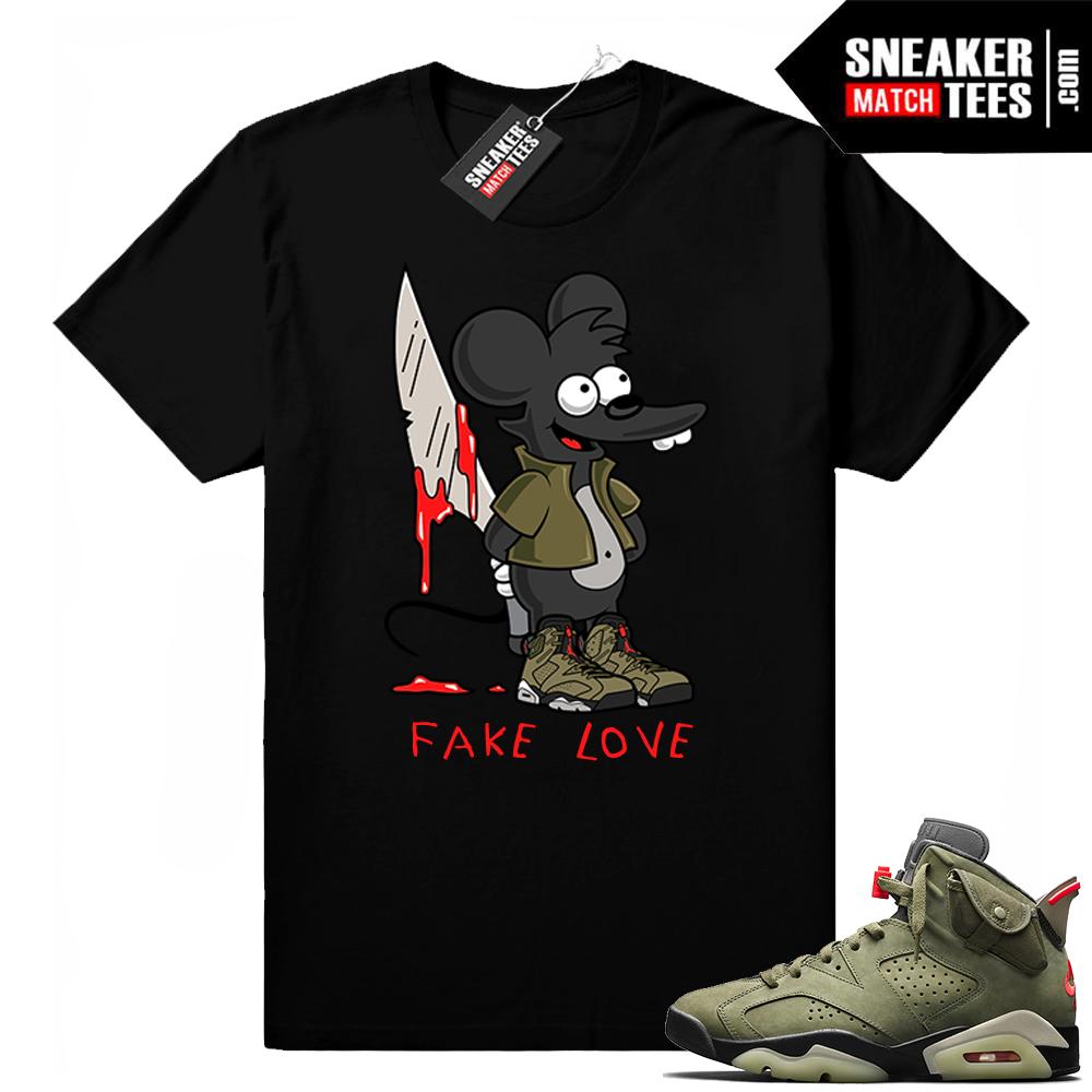 Travis Scott x Jordan 6 Black shirt Fake Love