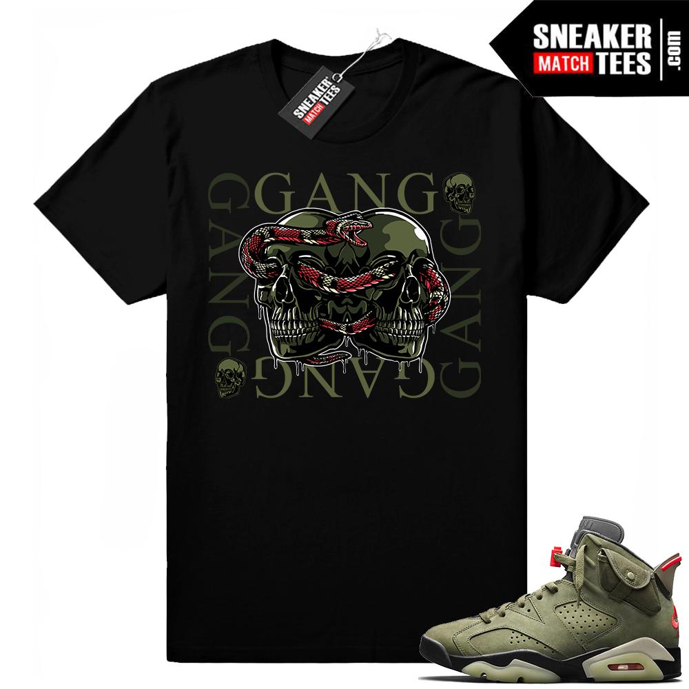 Travis Scott x Jordan 6 Black shirt Gang Gang