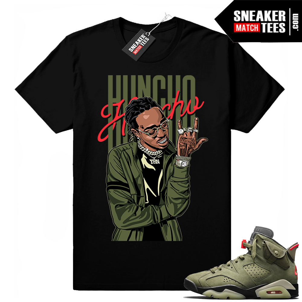 Travis Scott x Jordan 6 Black shirt Huncho Flex