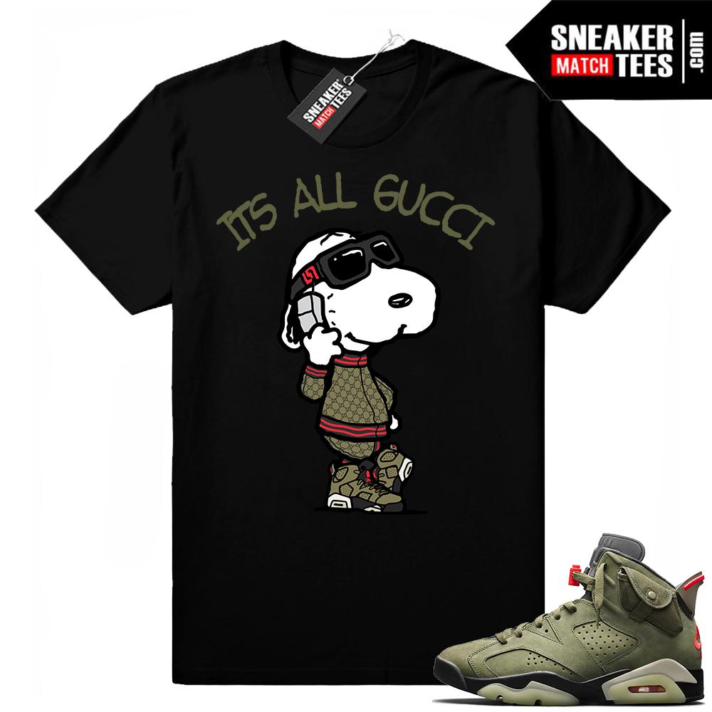 Travis Scott x Jordan 6 Black shirt Its All Gucci