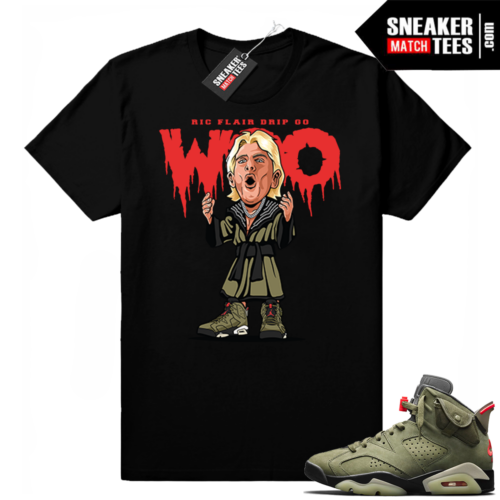 Travis Scott x Jordan 6 Black shirt Ric Flair Drip