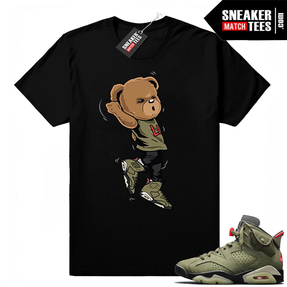 Travis Scott x Jordan 6 Black shirt Shootin Bear
