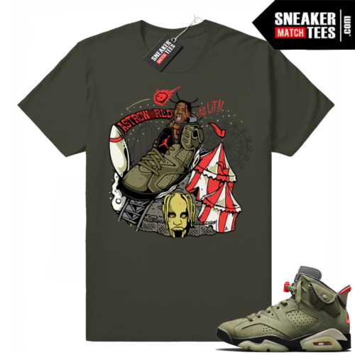 Travis Scott x Jordan 6 Dark Olive shirt Astroworld