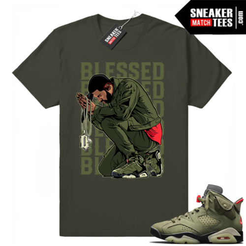 Travis Scott x Jordan 6 Dark Olive shirt Blessed