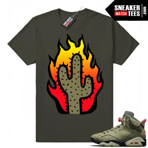 Travis Scott x Jordan 6 Dark Olive shirt Cactus Flame