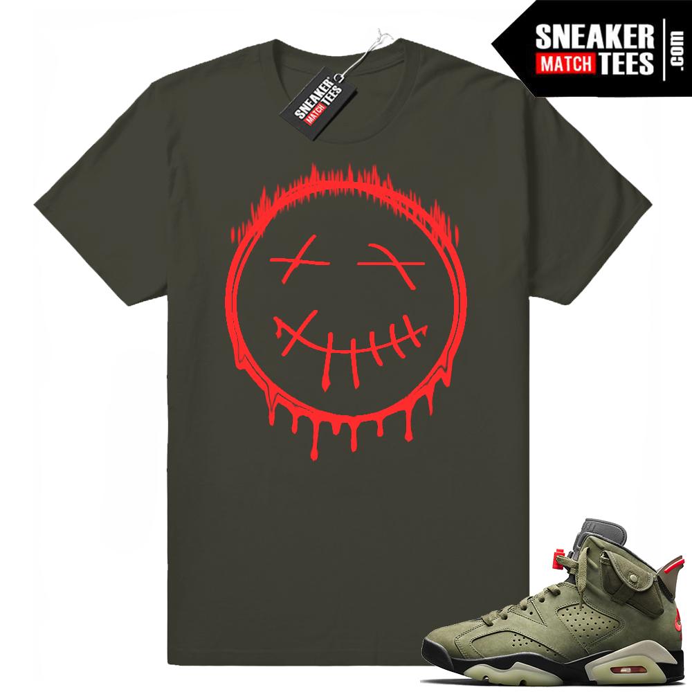 Travis Scott x Jordan 6 Dark Olive shirt Cactus Smiley Drip