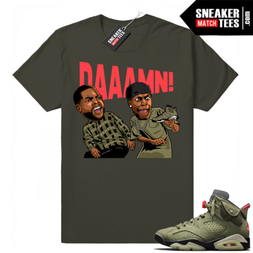 Travis Scott x Jordan 6 Dark Olive shirt DAAAMN