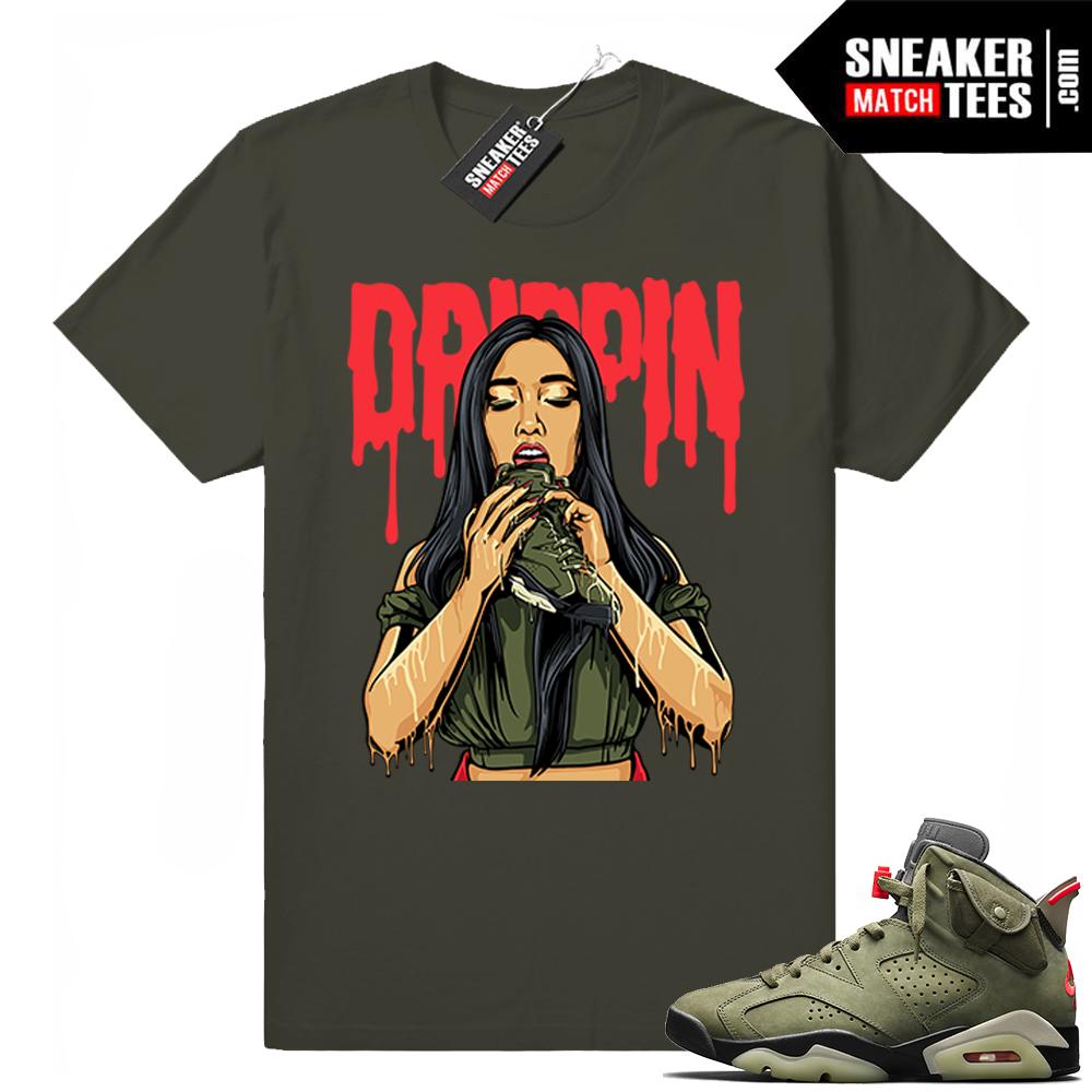 Travis Scott x Jordan 6 Dark Olive shirt Drippin 6s