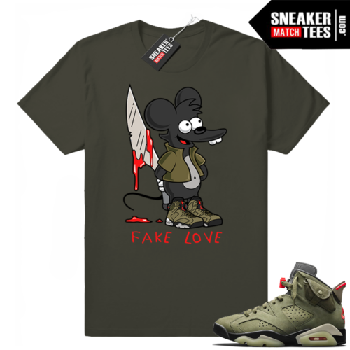 Travis Scott x Jordan 6 Dark Olive shirt Fake Love