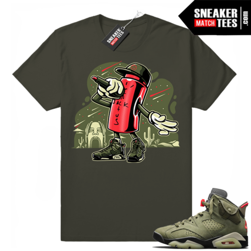 Travis Scott x Jordan 6 Dark Olive shirt Lace Lock Toon
